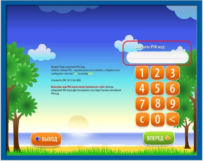 QIWI-экран с пин-кодом